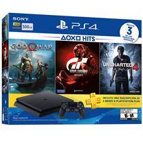 Console Sony Playstation 4 CUH-2115B - 500GB - com God Of War Grand Turismo Sport Uncharted 4